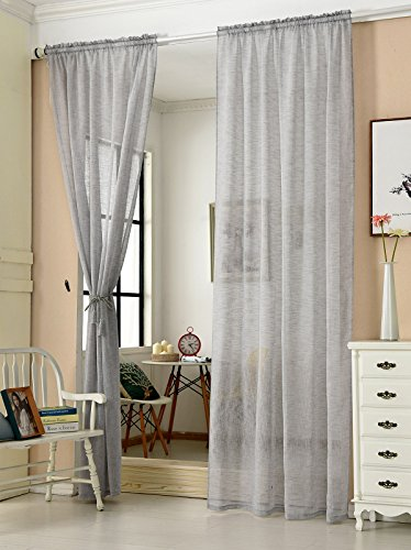 WOLTU® VH5859hgr-2, 2er Set Gardinen transparent mit Kräuselband Leinen Optik, Doppelpack Vorhang Stores Voile Fensterschal Dekoschal für Wohnzimmer Kinderzimmer Schlafzimmer, 140x245 cm, Hellgrau