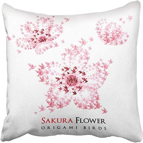 Kinhevao Cojín Estampado Rosa Sakura Japón Origami Flores en Forma de Flying Birds Rojo Símbolo japonés Viaje Papercraft Poliéster Cuadrado Cremallera Oculta Almohada Decorativa