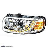 United Pacific Chrome Projection Headlight With LED Position Light & LED Turn Signal For 2008+ Peterbilt 388/389 - Driver 31645