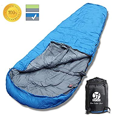 BOS Portable Mummy Sleeping Bag- Ultralight Waterproof Camping Sleeping Bag with Compression Sack for 4 Season Traveling and Outdoor Activities- Large Sleeping Bag for Adults up 7'2