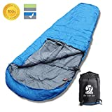 BOS Portable Mummy Sleeping Bag- Ultralight Waterproof Camping Sleeping Bag with Compression Sack for 4 Season Traveling and Outdoor Activities- Large Sleeping Bag for Adults up 7'2-Blue&Right-Zip