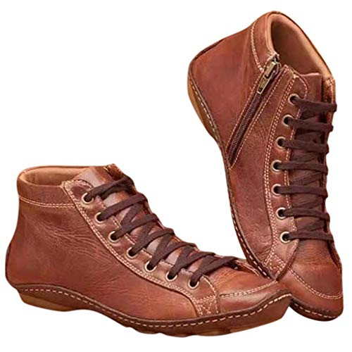 Luckycat Botas de Piel sintética para otoño, Vintage, con Cordones, para Mujer, cómodas, Planas, con Cremallera