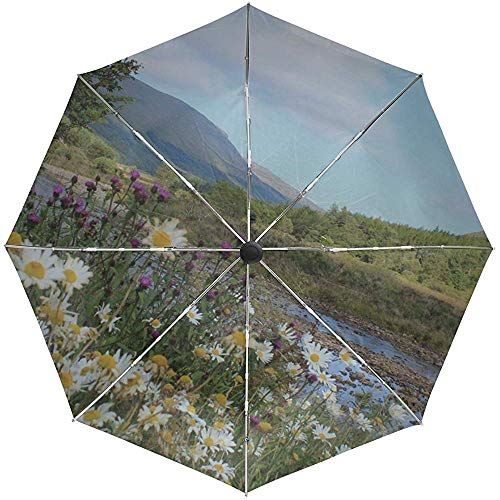 Automatischer Regenschirm Schottland Gebirgsfluss Gras Gänseblümchen Reisen Bequem Winddicht Wasserdicht Falten Auto Öffnen Schließen