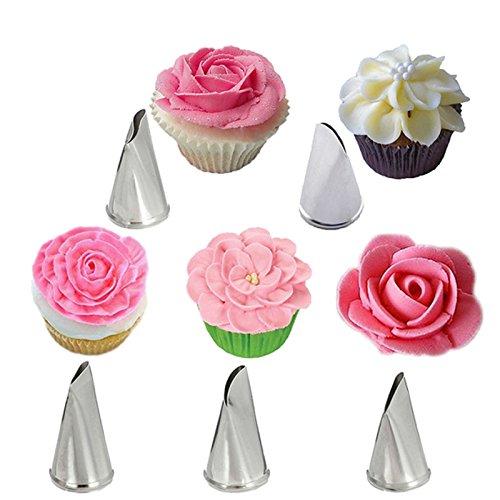 Inovey 5 Stück Set Rosen Blütenblatt Icing Piping Düsen Metall Creme Tipps Kuchen Dekorieren Werkzeuge Cupcake Gebäck Werkzeug