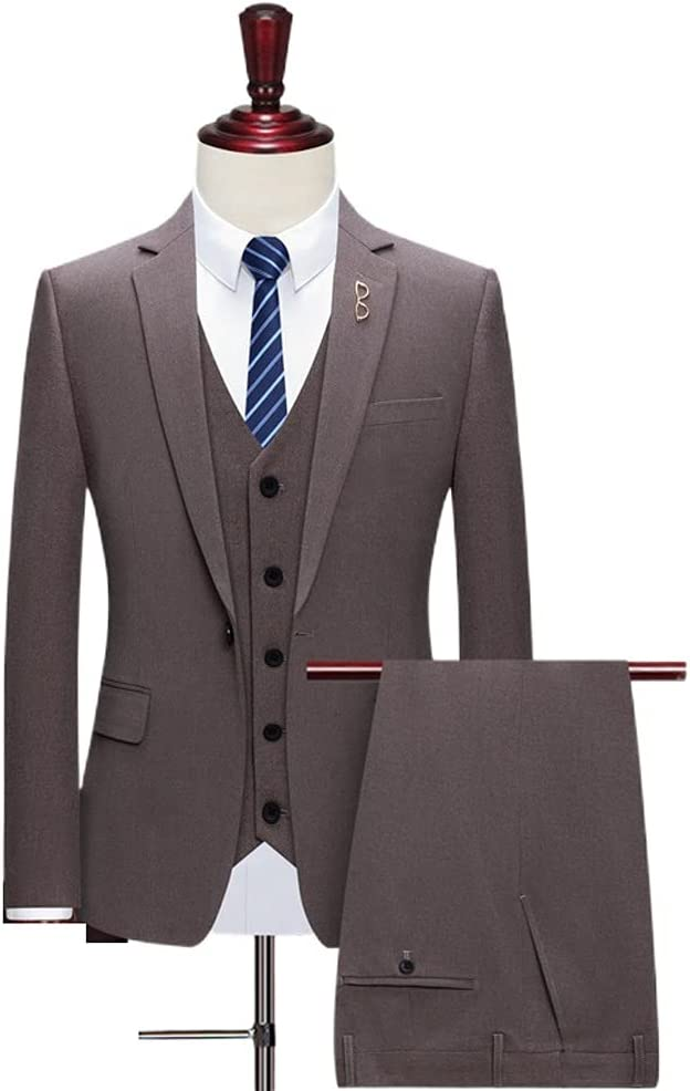 UXZDX CUJUX Wedding Suits for Men Best Man Three Peices Suits (Jacket+Pants+Vest) Custom Made Coffee Suits (Color : Brown, Size : L for 55 to 60kg)