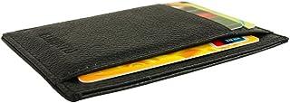 Genuine Leather Slim Front Pocket Card Case Credit Card Holder 7 Slots Wallet (Black)