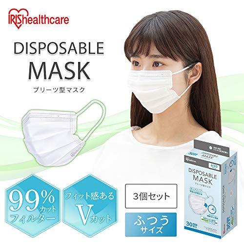 アイリスオーヤマディスポーザブルマスク不織布ふつうサイズ30枚×3個(90枚セット)耳が痛くなりにくいやわらか耳ひも20PN-30PM