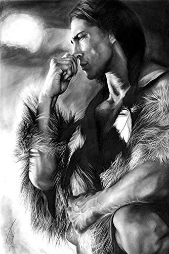 wZUN Carteles de Pintura en Lienzo de pueblos indígenas Indios en Blanco y Negro e Impresiones murales escandinavos imágenes de la Sala de Estar 60x80cm Sin Marco