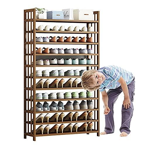 LOHOX Estantería para Zapatos de 11 Niveles, Capacidad para 28-40 Pares Marco de Bambú Soporte para Plantas Estante Ajustable para Entrada, Baño, Cocina y Sala de Estar - L50/70/80/90CM