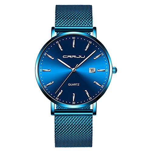 XIAN Reloj Ultrafino para Hombre, Reloj Deportivo de Cuarzo Resistente al Agua con Movimiento japonés a la Moda para Hombre, Reloj con Fecha para Hombre,B