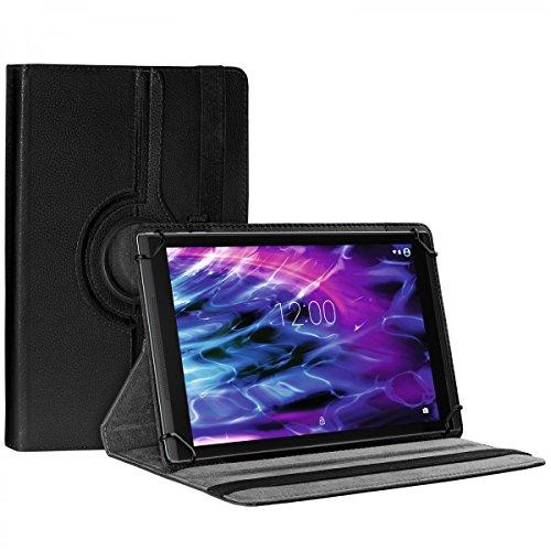 eFabrik Schutztasche für Medion Lifetab E10412   X10311   X10302   X10301   S10352   S10351 Schutzhülle Tasche Cover Hülle Etui 360 Grad Rotation Drehung Aufstellfunktion Leder-Optik, Farbe:Schwarz