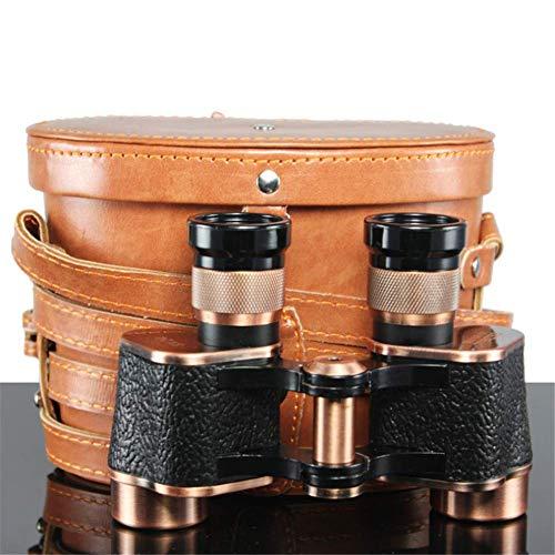 JYCTD Binoculares 8X24 HD Telescopio Binocular de Metal Completo con Bolsa de Cuero LLL Visión Nocturna Espejo de Bronce Portátil
