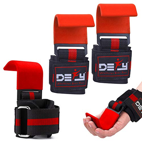 DEFY Challenge Your Fear Weight Lifting Hooks Heavy Duty Lifting Wrist Straps for Pull-ups Thick Padded Neoprene, Double Stitching, Non-Slip Resistant Coating (Red)
