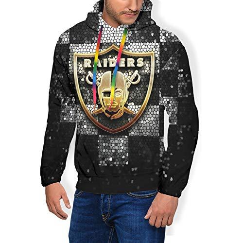 MAHENSHANGM Oakland-Raider&s Fashion Men's Essential Hoodie Pullover Sweatshirt Print Apparel Large Black