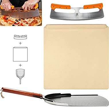 The Ultimate Pizza Making Set - 14  x 16  Pizza Stone, 14  Aluminum Pizza Peel and 14  Stainless Steel Rocker Pizza Cutter | Great for Baking Pizza, Cookies and Bread in Any Oven or Grill