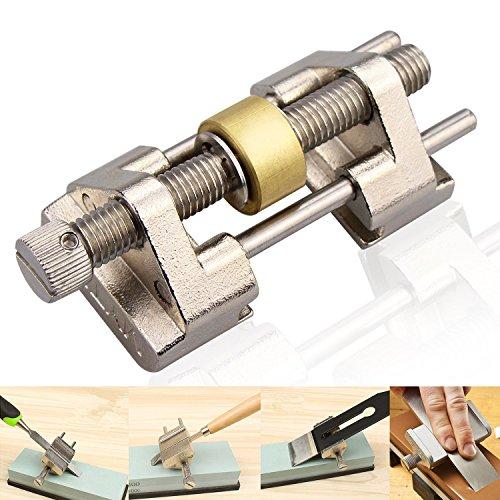 Guide d'affûtage Comsmart - En acier inoxydable - Serrage sur le côté - Angle fixe - Avec rouleau en laiton pour ciseaux à bois, lame de rabot, burin plat - Largeur entre 0,8et 8,2cm