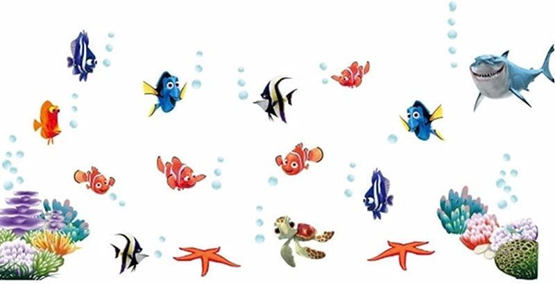 COUTUDI Peel Stick Underwater World Wall Sticker Kids Bedroom Playroom Decal Tropical Adhesive Sea Life Mural Nursery Kindergarten Ocean Themed Art