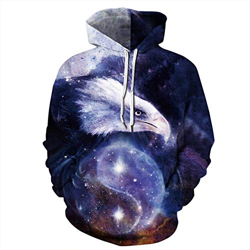 yanghuakeshangmaoyouxiangong Unisexe 3D Starry Eagle Print Hoodie Sweat À Capuche Sweat Pullover
