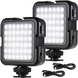 Andoer Luz LED recargable para cámara, mini luz de vídeo súper brillante para cámara DLSR videocámara Gimbal Macro Fotografía Video, 2-Brillo, paquete de 2