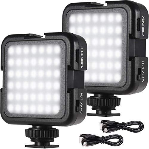 Andoer Luz LED recargable para cámara, súper brillante mini luz de vídeo para cámara DLSR, Gimbal Macro Fotografía Video, 2 brillos