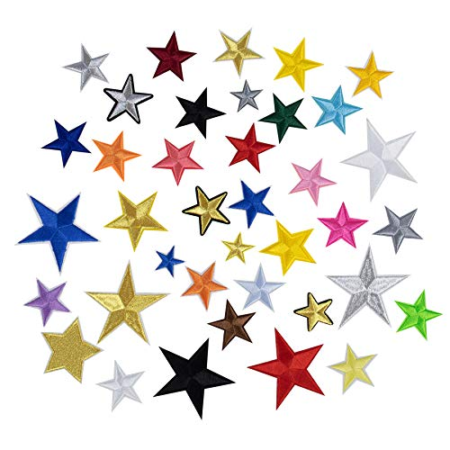 AUEAR, 36 Pack Star Iron on Patches Embroidered Self Adhesive Pentagram Patches for Clothing