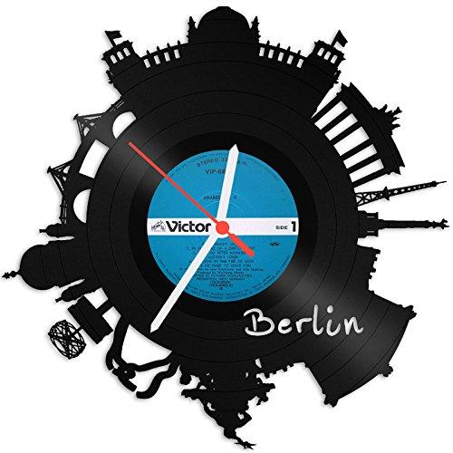 GRAVURZEILE Skyline Berlin 2018 Wanduhr aus Vinyl Schallplattenuhr Upcycling Design-Uhr Wand-Deko Vintage-Uhr Wand-Dekoration Retro-Uhr Made in Germany