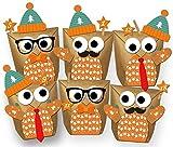Paul´s Papierfabrik Set 24 Eulen Adventskalender Weihnachten 2019 - Alle Teile vorgestanzt! Geschenktüten Geschenkpapier zum selber Befüllen - DIY zum Basteln ohne Schere - 100% recyclebar!