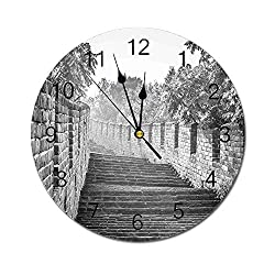 Yeeboo Great Wall of China 10 Inch Round Wall Clock,Black and White Panorama of Traditional Landmark Cultural Ancient Ruins Image Easy Read Clock for Home Office Classroom,Grey