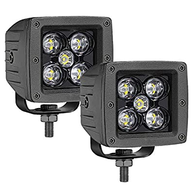 OFFROADTOWN LED Cubes, 2PCS 3 Inch 100W LED Pods Square Driving Light Spot Beam LED Light Bars LED Work Light Fog Lights for Trucks Jeep ATV UTV SUV Car Boat