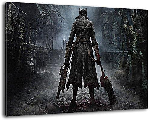 bloodborne ps4 game Format 100x70 cm Bild auf Leinwand, XXL riesige Bilder fertig gerahmt mit Keilrahmen, Kunstdruck auf Wandbild mit Rahmen