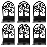 Decorative Bookends, Tree of Life Book Ends, Metal Bookends, Black Book Ends, Bookends for Shelves, Book Holder for Home Office, Heavy Duty Bookends Desk Accessories & Workspace Organizers