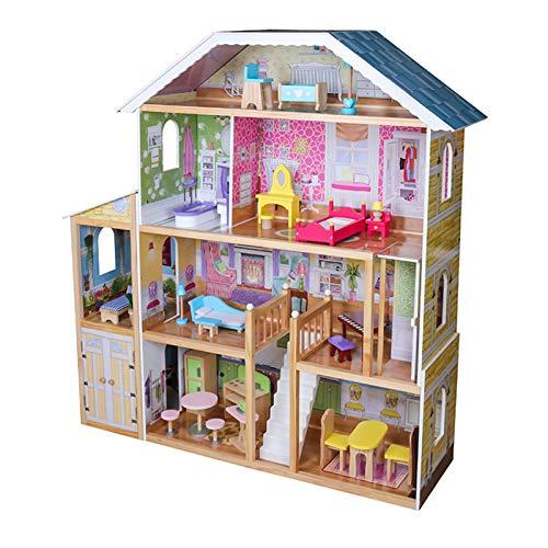 Infantastic® Puppenhaus aus Holz - 4 Spielebenen, Spielset mit Möbeln und Zubehör, für 30 cm große Puppen - Puppenvilla, Dollhouse, Puppenstube, Kinder Spielzeug für Mädchen und Jungen