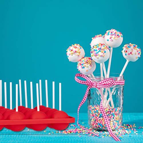Relaxdays Cake Pop Formen, Silikon Backform, für 20 Stück, Zubehör-Set, 120 Cake Pops Stiele, Herz- und Kugelform, rot