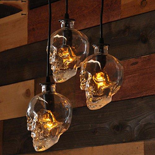 SHDT Moderne minimalistische LED-Restaurant, Kronleuchter, DREI kleine Glas Schädel Form Lampenschirm, Esstisch, Esszimmer, Bar, chinesische Mahlzeit, hängende Lampen und Laternen, 1