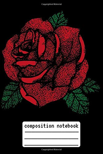 Composition Notebook Red Rose Stippled Tattoo: Red Rose Stippled Tattoo Composition Notebook, log book and internet password organizer, alphabetical ... Stippled Tattoo gift, Composition Notebook, s