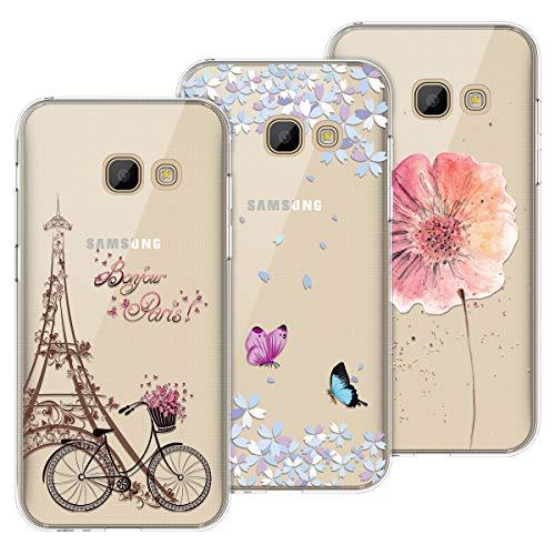 Yokata Kompatibel mit Samsung Galaxy A5 2017 Hülle Silikon Transparent Durchsichtig Handyhülle Schutzhülle TPU Dünn Slim Kratzfest mit Motiv [3 Pack] - Turm Fahrrad + Blumen Schmetterlinge + Blumen