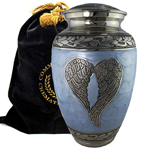 Loving Angel Wings Blue/Silver Cremation Urn