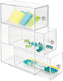 mDesign Home Office, Desk Organizer Storage Station for Storing Gel Pens, Erasers, Tape, Push Pins, Pencils, Markers - Compact, Space Saving - Use Vertically or Horizontally - 3 Drawers - Clear