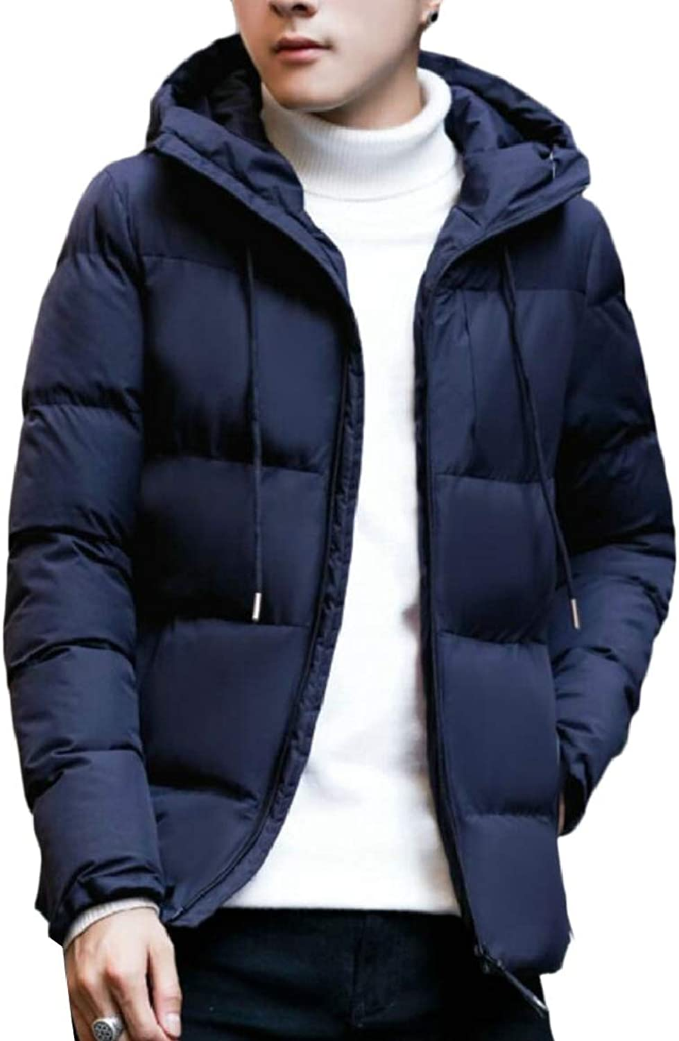 RG-CA Men's Hipster Padded Thermal Hooded Thick Warm Front-Zip Down Jacket Coat