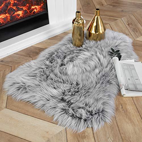 Ashler Soft Faux Sheepskin Fur Chair Couch Cover Area Rug Bedroom Floor Sofa Living Room Coal Black 2 x 3 Feet