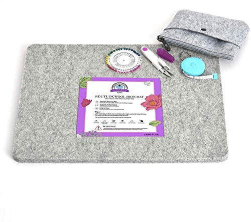 Rdutuok 17x13.5 Inches Wool Pressing Mat for Quilting Ironing Pad Easy Press Wooly Felted Iron Board for Quilters Retains Heat, Great for Quilting & Sewing Projects