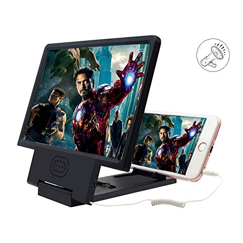 Anshar Ampliador de Lupa de Pantalla de teléfono 3D, Amplificador de teléfono Inteligente con Altavoz, Pantalla de Aumento de 12