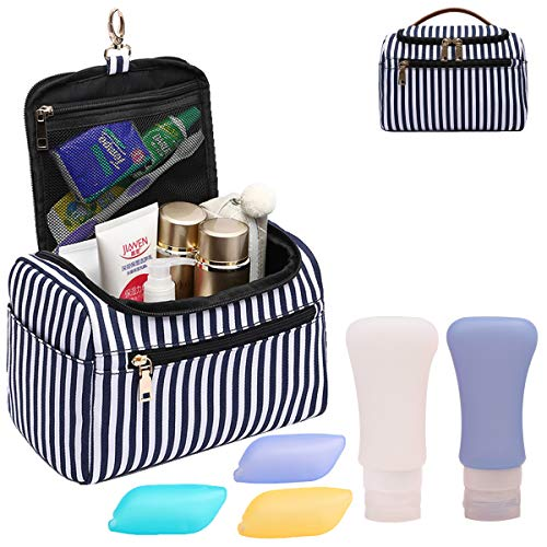 IBLUE Hanging Toiletry Bag,Large Capacity Travel Bag for Men and Women - Toiletry Kit Cosmetic Makeup Bag Travel Accessories #B04 (Blue stripe 03)