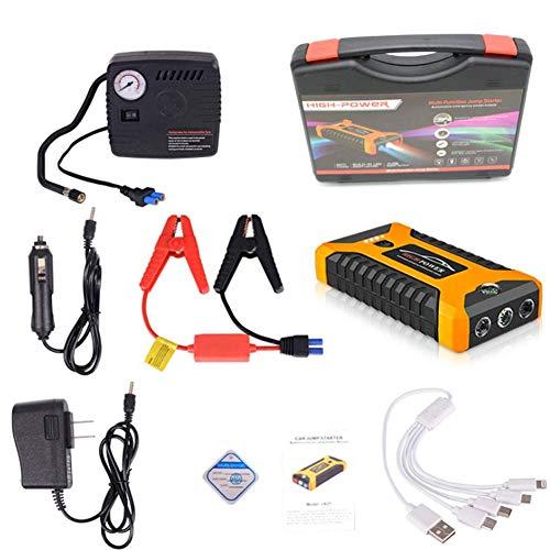 AZITEKE Auto Starthilfe Powerbank, 20000mAh 4 USB Smart Digital Tragbare Auto-Starthilfe Notversorgungs-Kit Batterie für 6.0L Benzin und 5.0L Dieselmotor (Gelb, Standardkonfiguration + Luftpumpe)
