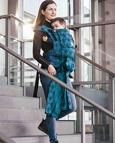 LIMAS Plus Babytrage Halfbuckle| 56-104 cm | Bauchtrage & Rückentrage & Hüfttrage | ab Geburt bis Kleinkindalter | Baby Carrier | Pava Ocean