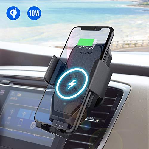 Mpow Supporto Smartphone per Auto per Ricarica Wireless,Porta Cellulare da Auto a Ricarica Rapida Wireless Qi per iPhone XS MAX/XS/XR/X/8/8plus,Galaxy S10/S9/S9+/S8/S8+/S7/S7Edge, Huawei ECC