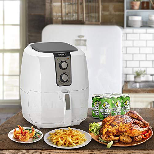 Della Electric Multipurpose Classic Rapid Air Fryer Dual Dial Temperature & Timer Controls, 5.8 QT, 1800W, White