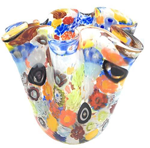 Murrine Millefiori Murano Glasses Vase Mouchoir Made in Italy (Moyen)