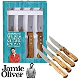 Jamie Oliver 112532 Jumbo Steak Knives with Wooden Handles, Set of 4, Acciaio INOX e Legno