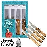Jamie Oliver 112532 Jumbo Steak Knives with Wooden Handles, Set of 4, Acciaio INOX e Legno